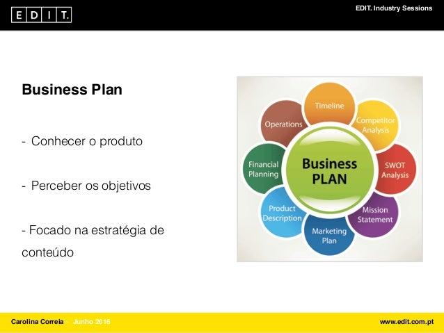 EDIT. Industry Sessions Carolina Correia ⎯ Junho 2016 www.edit.com.pt Business Plan - Conhecer o produto - Perceber os obj...
