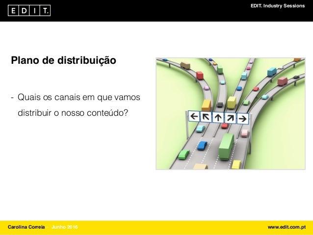 EDIT. Industry Sessions Carolina Correia ⎯ Junho 2016 www.edit.com.pt Plano de distribuição - Quais os canais em que vamos...