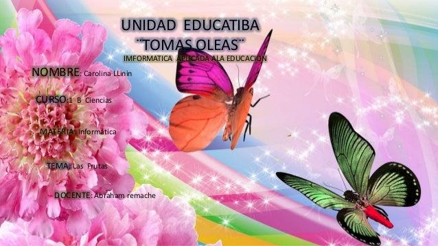 UNIDAD EDUCATIBA ¨TOMAS OLEAS¨ IMFORMATICA APLICADA ALA EDUCACION NOMBRE: Carolina LLinin CURSO:1 B Ciencias MATERIA: Info...