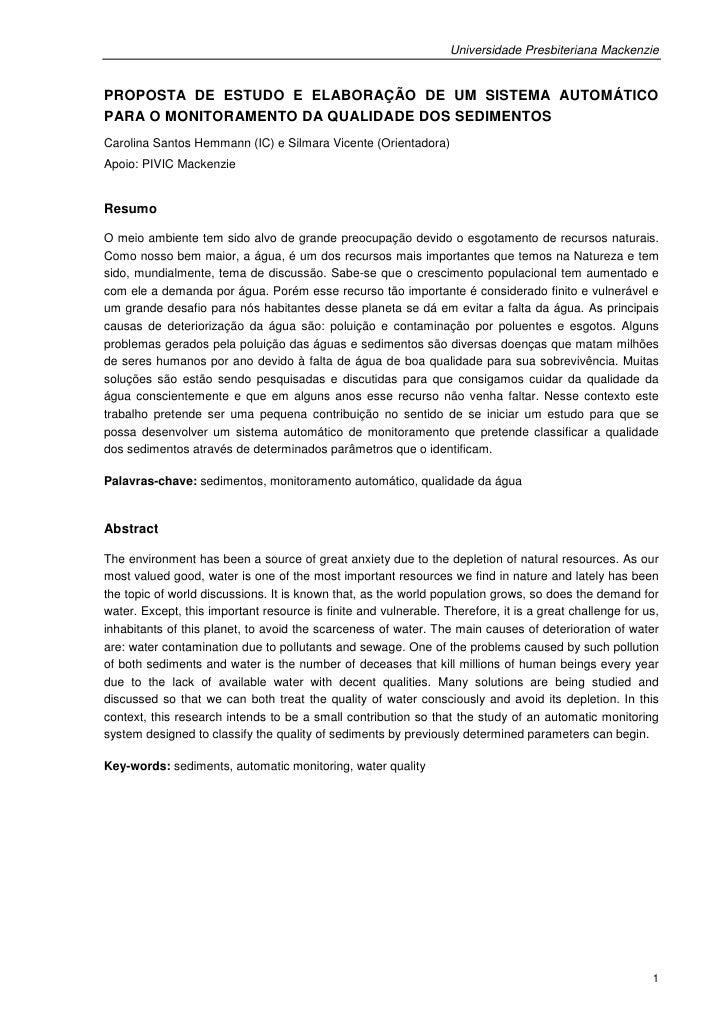 Universidade Presbiteriana MackenziePROPOSTA DE ESTUDO E ELABORAÇÃO DE UM SISTEMA AUTOMÁTICOPARA O MONITORAMENTO DA QUALID...