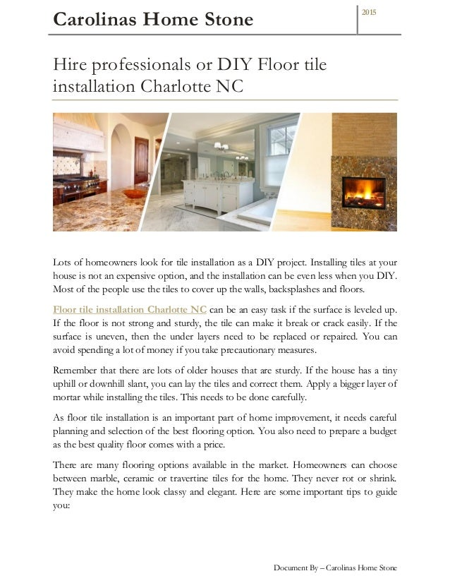 Make Your Home Modern With Floor Tile Installation Charlotte Nc