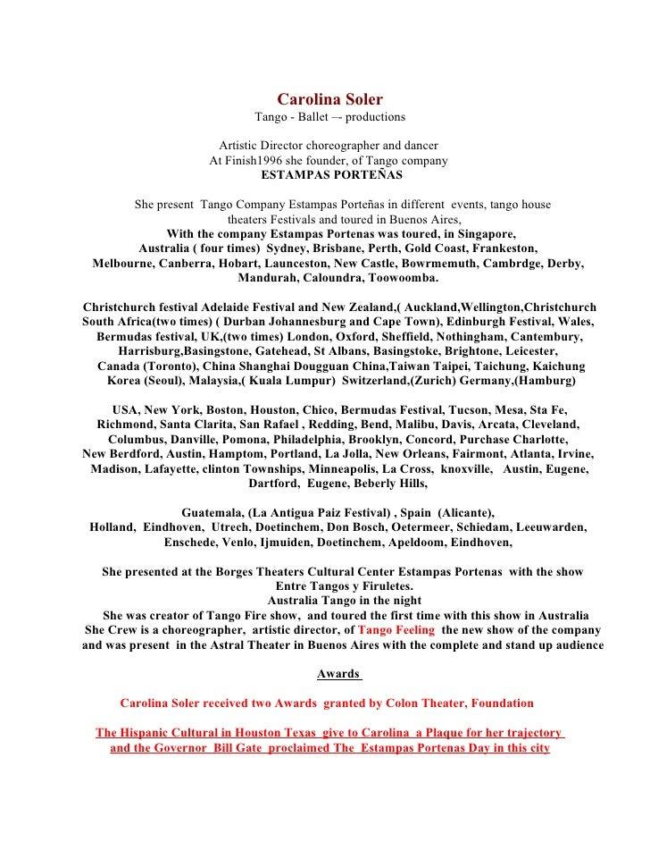 Carolina Soler                               Tango - Ballet –- productions                         Artistic Director chore...