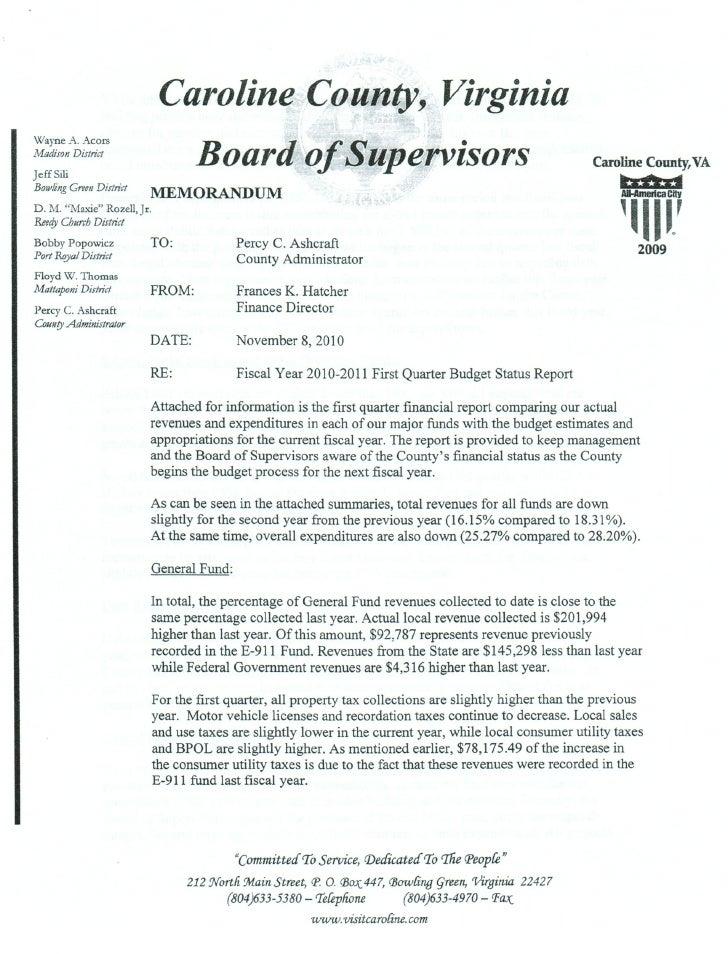 1st Quarter Fiscal Report for Caroline Virginia 2010-2011