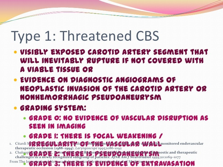 Type 1: Threatened CBS   Visibly exposed carotid artery segment that    will inevitably rupture if not covered with    a ...