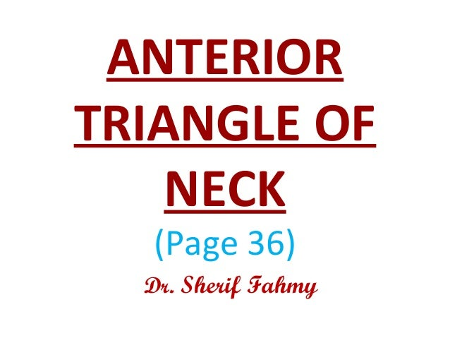 ANTERIOR TRIANGLE OF NECK (Page 36) Dr. Sherif Fahmy