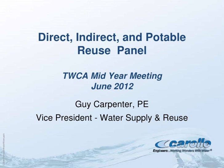 Direct, Indirect, and Potable                                        Reuse Panel                                      TWCA...