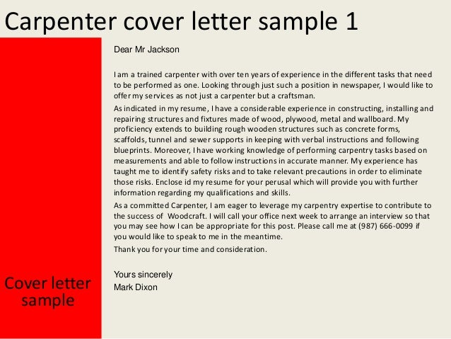 Good Carpenter Cover Letter .