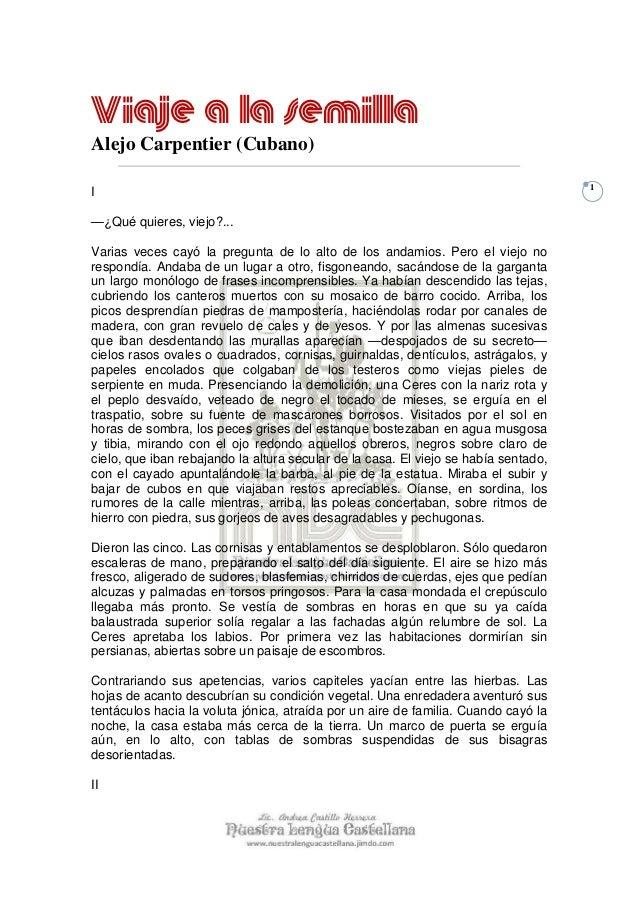 Viaje a la semillaAlejo Carpentier (Cubano)                                                                               ...