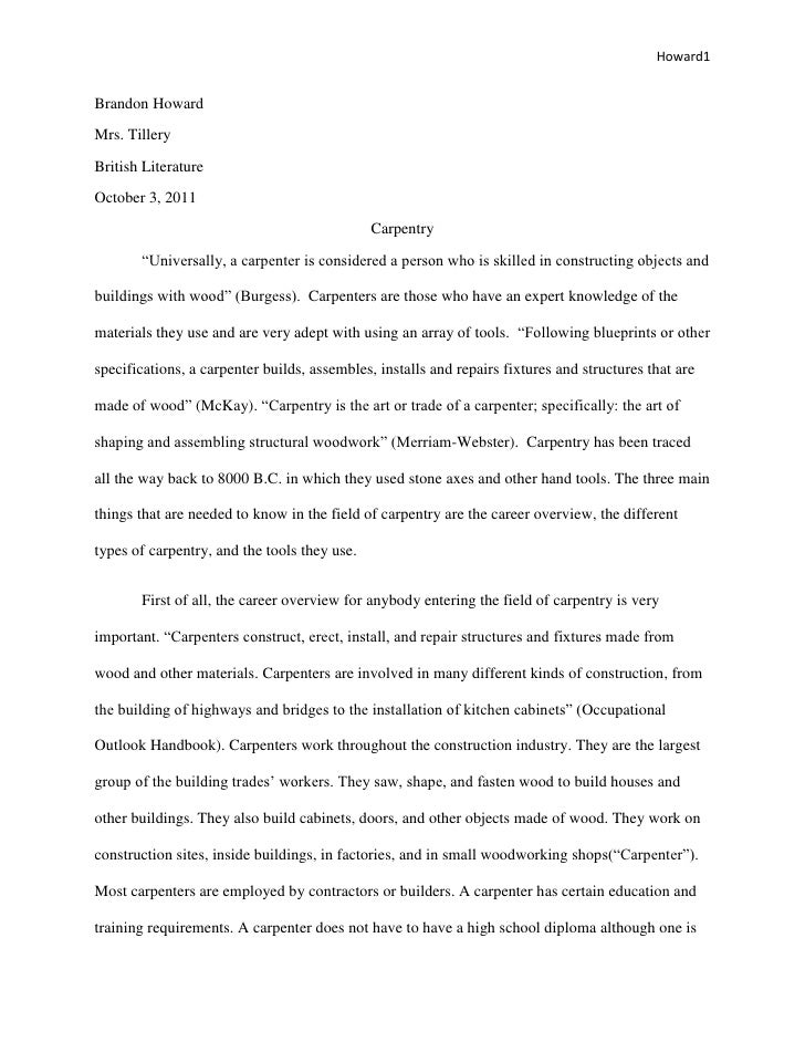 Carpentry Reseach Paper Revised Using Track Changes - Carpentry proposal template