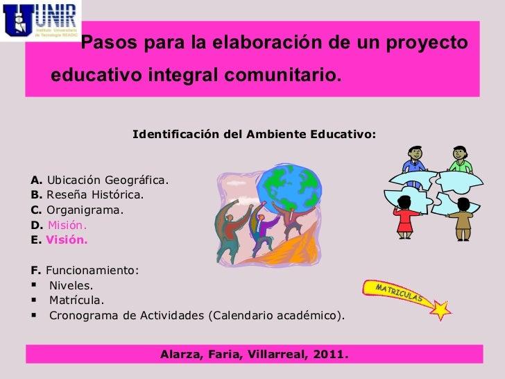 Elaboraci N De Un Proyecto Educativo Integral Comunitario