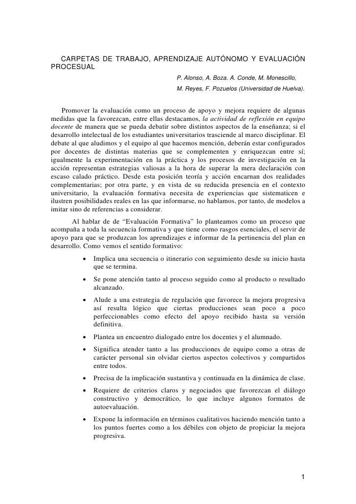 CARPETAS DE TRABAJO, APRENDIZAJE AUTÓNOMO Y EVALUACIÓN PROCESUAL                                              P. Alonso, A...