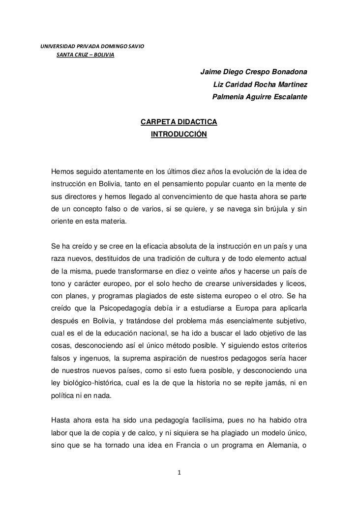 UNIVERSIDAD PRIVADA DOMINGO SAVIO     SANTA CRUZ – BOLIVIA                                                  Jaime Diego Cr...