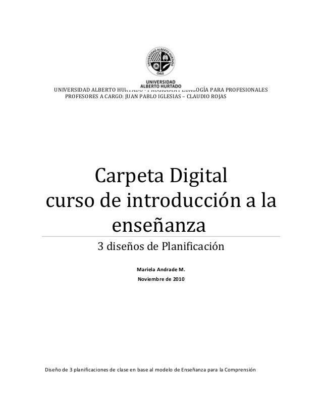 UNIVERSIDAD ALBERTO HURTADO - PROGRAMA PEDAGOGÍA PARA PROFESIONALES PROFESORES A CARGO: JUAN PABLO IGLESIAS – CLAUDIO ROJA...