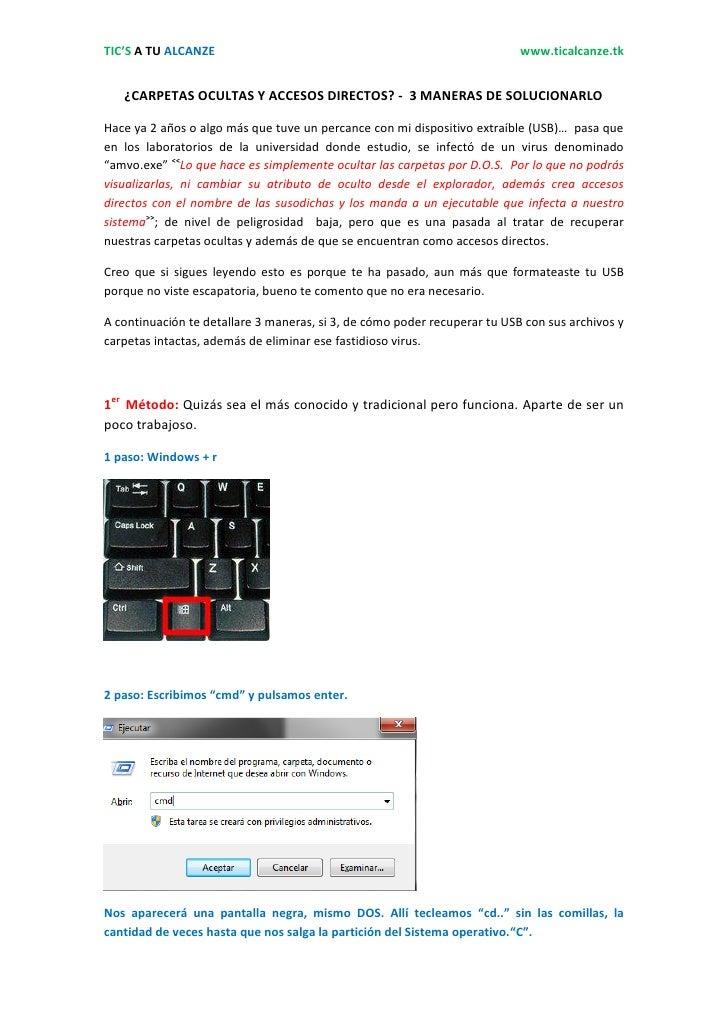 TIC'S A TU ALCANZE                                                         www.ticalcanze.tk   ¿CARPETAS OCULTAS Y ACCESOS...