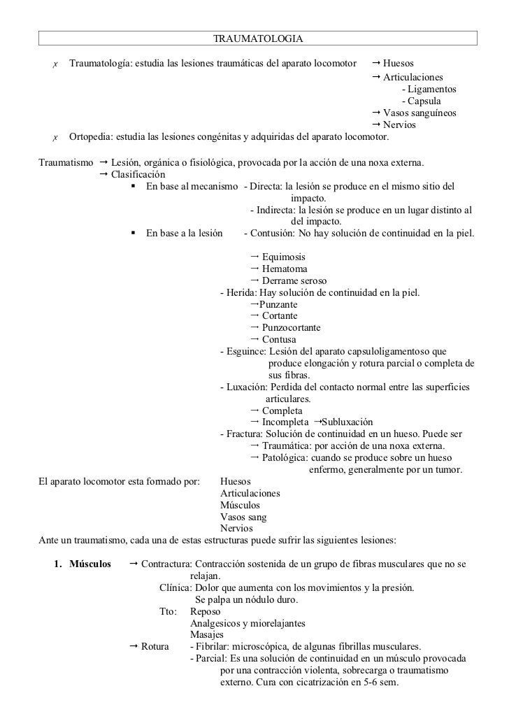 TRAUMATOLOGIA   x   Traumatología: estudia las lesiones traumáticas del aparato locomotor     Huesos                     ...