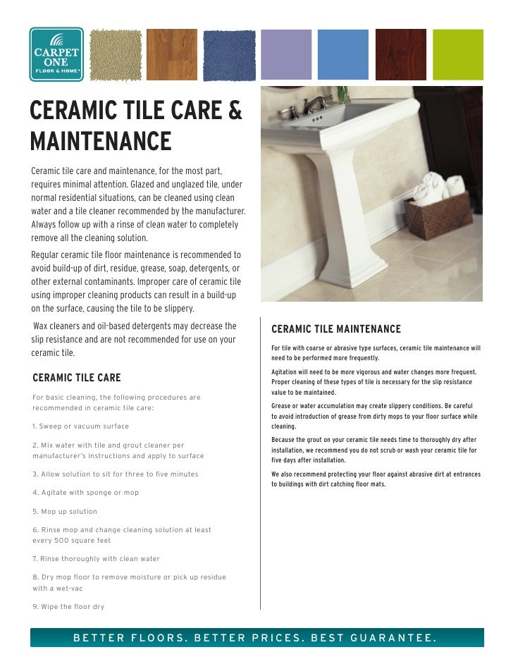 Ceramic Tile Care and Maintenance from Carpet One Floor & Home