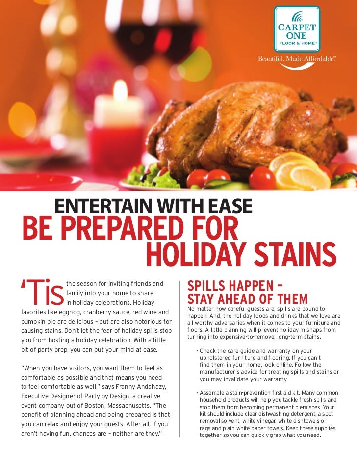 ENTERTAIN WITH EASEBE PREPARED FOR         HOLIDAY STAINS'Tis                                                        SPILL...