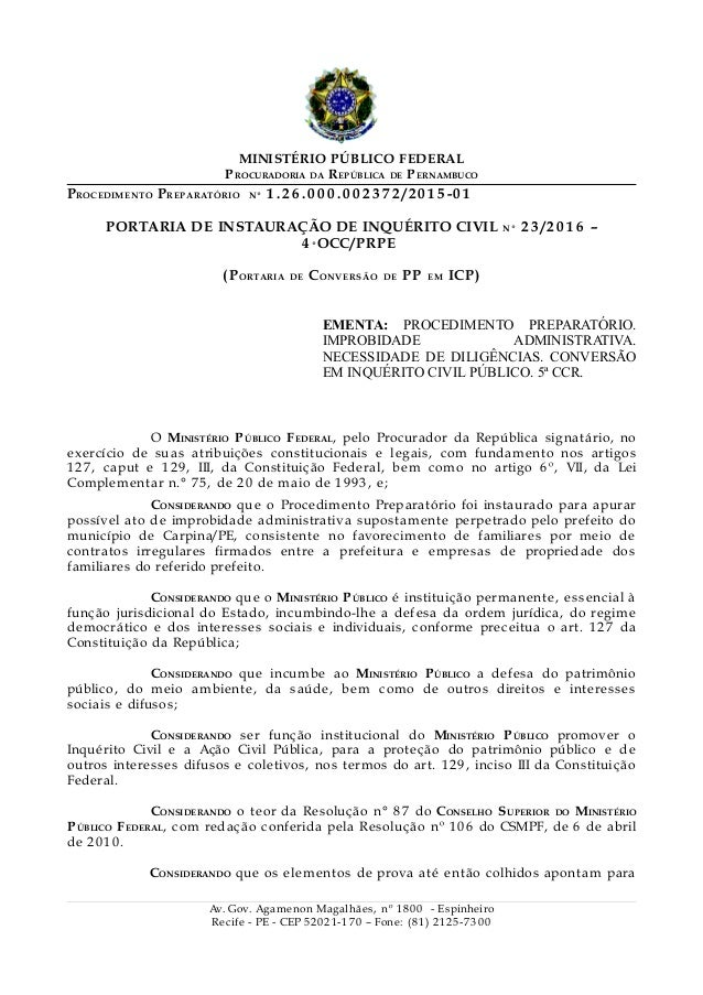 MINISTÉRIO PÚBLICO FEDERAL PROCURADORIA DA REPÚBLICA DE PERNAMBUCO PROCEDIMENTO PREPARATÓRIO Nº 1 . 2 6 . 0 0 0 . 0 0 2 3 ...