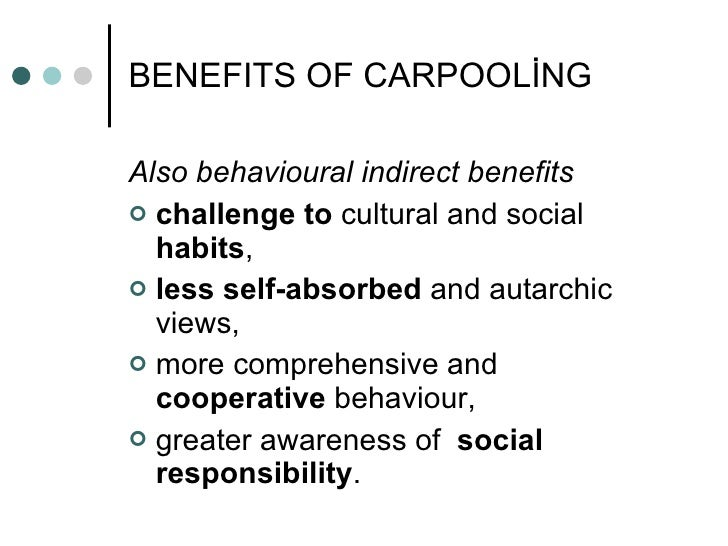 the benefits of carpooling Carpooling is great for the environment, but how can it impact your health are there other reasons why you should be riding with other people read more: yo.