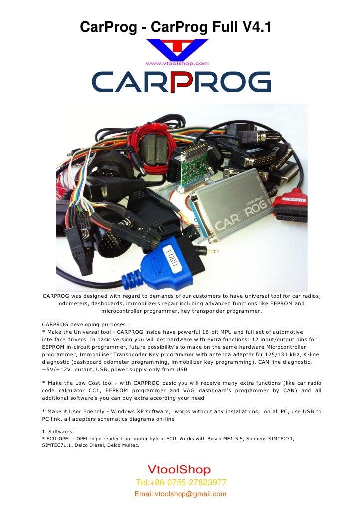 CarProg - CarProg Full V4.1                  CAR ROGCARPROG was designed with regard to demands of our customers to have u...