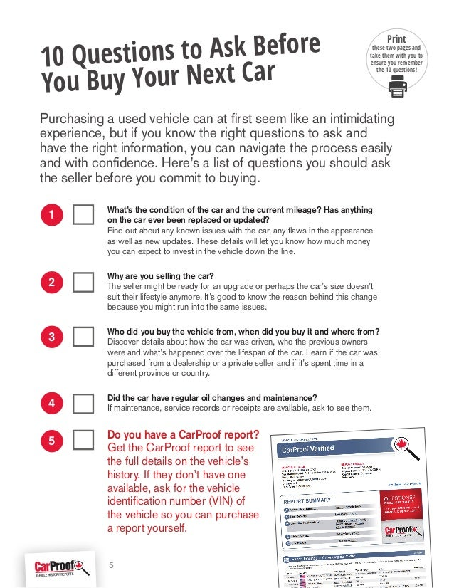 Questions To Ask When Buying A Car >> Carproof Used Car Buying Guide