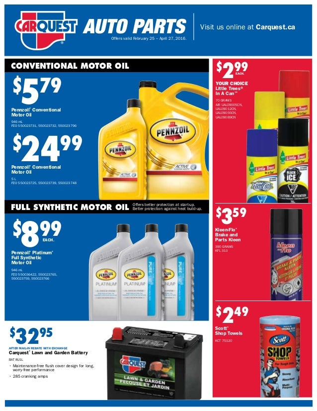 Carquest Retail Flyer Canada From Feb 25 April 27 2016