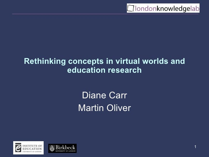 Rethinking concepts in virtual worlds and education research Diane Carr Martin Oliver