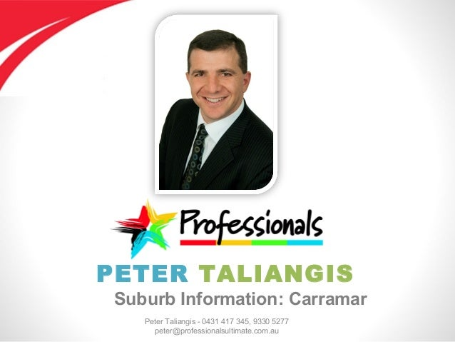 Peter Taliangis - 0431 417 345, 9330 5277 peter@professionalsultimate.com.au PETER TALIANGIS Suburb Information: Carramar