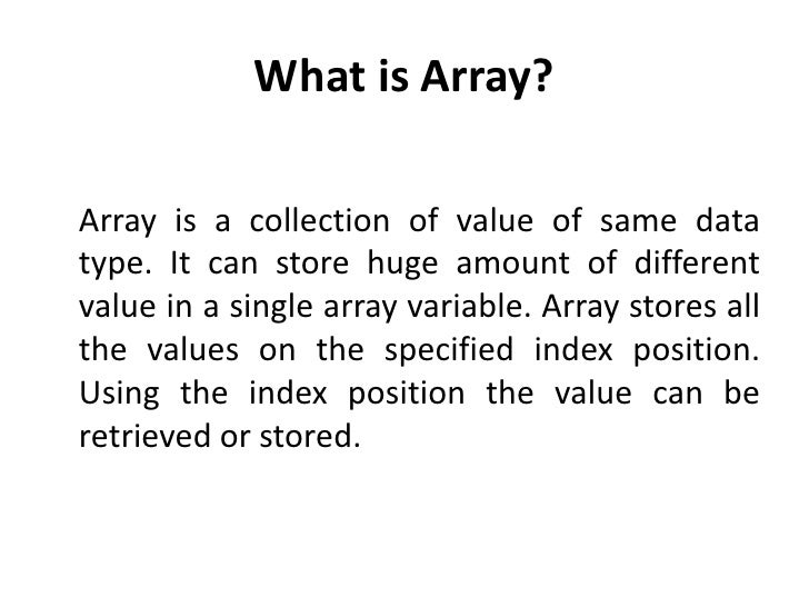is array