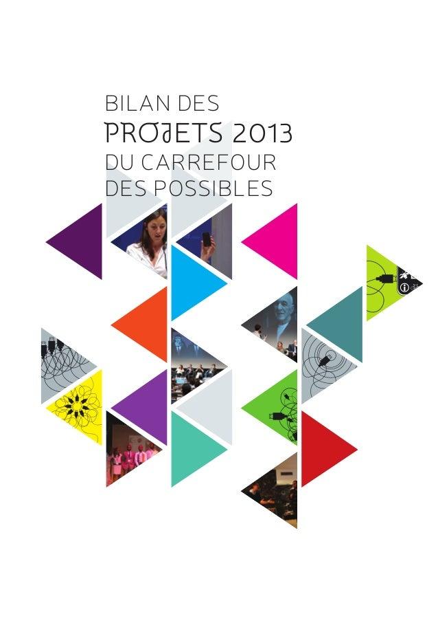 BILAN DES PROJETS 2013 DU CARREFOUR DES POSSIBLES