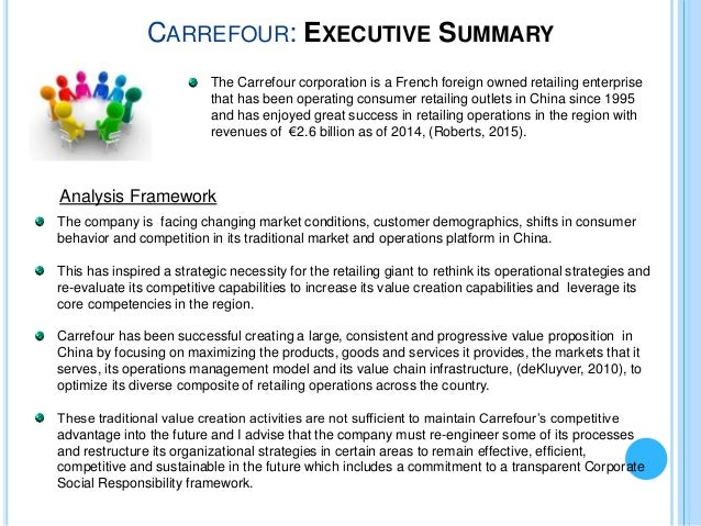 """an analysis and overview of carrefour The battle for global retail dominance  (exhibit 3 provides a summary of carrefour's and wal-mart's geographic distribution of stores) also, the skill mix of the two firms was  carrefour """"hypermarket"""", which was established at the intersection of five roads."""