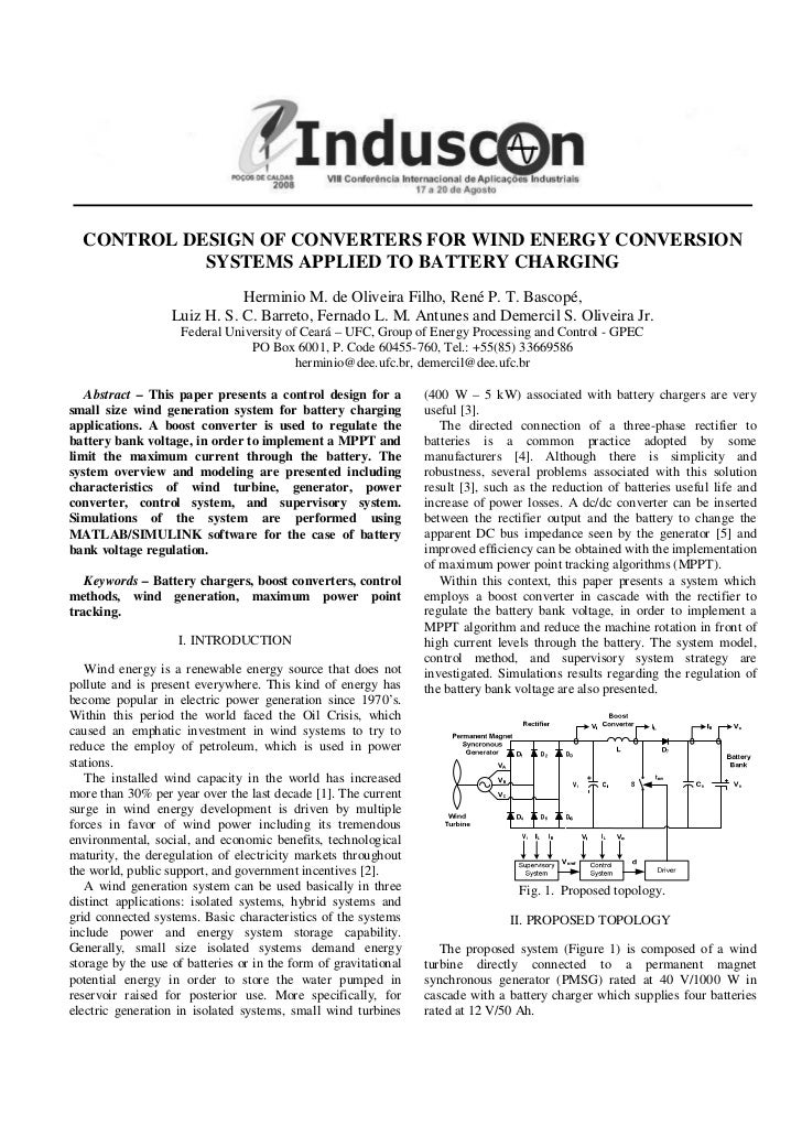 CONTROL DESIGN OF CONVERTERS FOR WIND ENERGY CONVERSION            SYSTEMS APPLIED TO BATTERY CHARGING                    ...