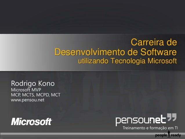 Carreira de Desenvolvimento de Software utilizando Tecnologia Microsoft