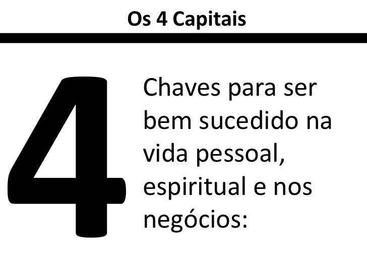 Os 4 Capitais Chaves para ser bem sucedido na vida pessoal, espiritual e nos negócios: