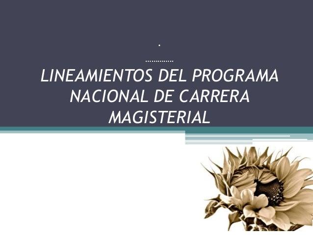 .          …………..LINEAMIENTOS DEL PROGRAMA   NACIONAL DE CARRERA        MAGISTERIAL