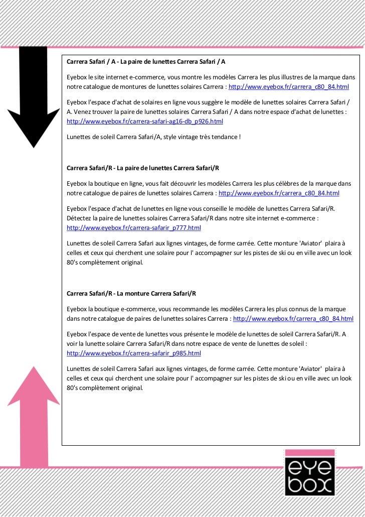 Carrera Safari / A - La paire de lunettes Carrera Safari / AEyebox le site internet e-commerce, vous montre les modèles Ca...