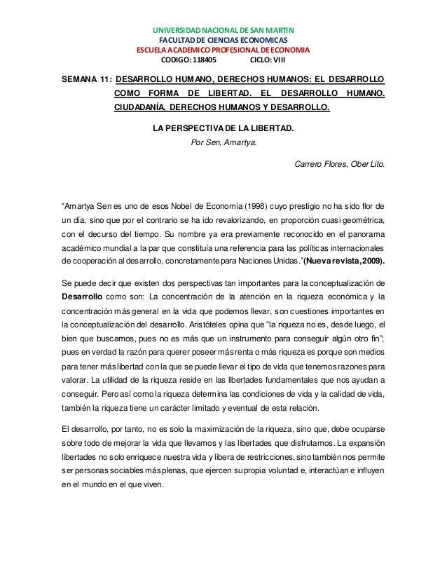 UNIVERSIDAD NACIONAL DE SAN MARTIN  FACULTAD DE CIENCIAS ECONOMICAS  ESCUELA ACADEMICO PROFESIONAL DE ECONOMIA  CODIGO: 11...