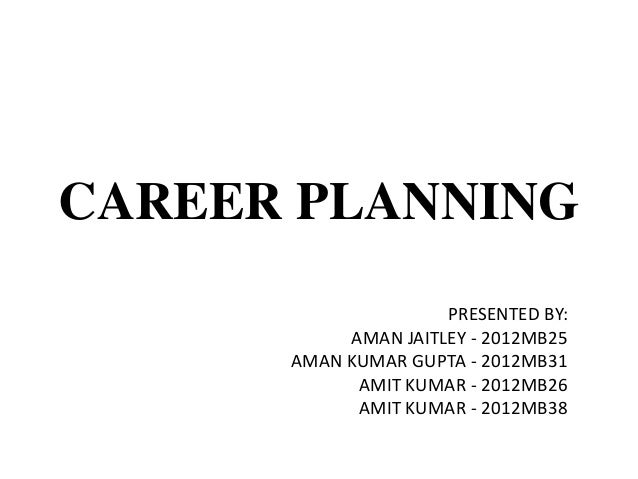 CAREER PLANNING PRESENTED BY: AMAN JAITLEY - 2012MB25 AMAN KUMAR GUPTA - 2012MB31 AMIT KUMAR - 2012MB26 AMIT KUMAR - 2012M...