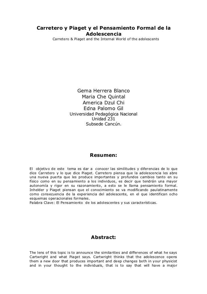 Carretero y Piaget y el Pensamiento Formal de la                       Adolescencia              Carretero & Piaget and th...