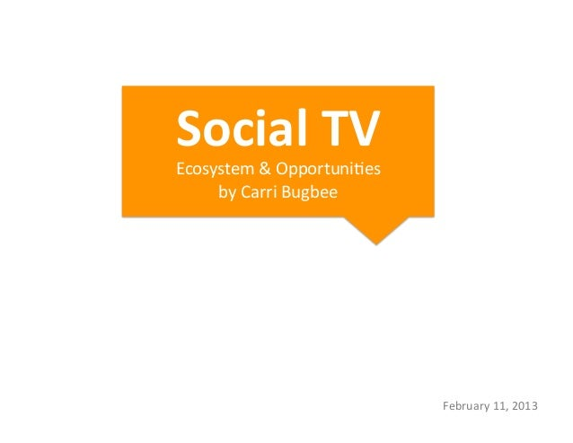Social	  TV	  	  Ecosystem	  &	  Opportuni1es	       by	  Carri	  Bugbee	                                       February	 ...