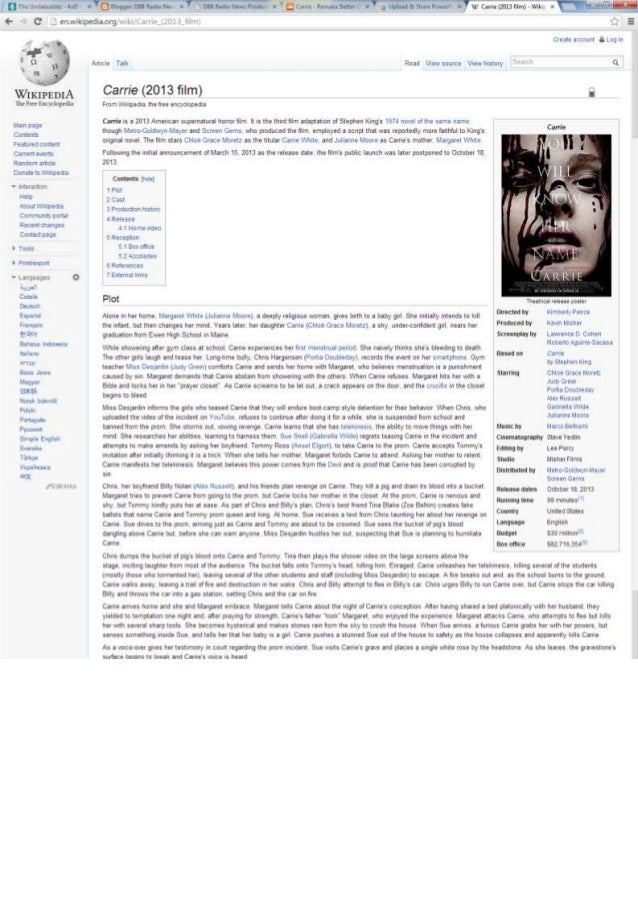 Carrie background research