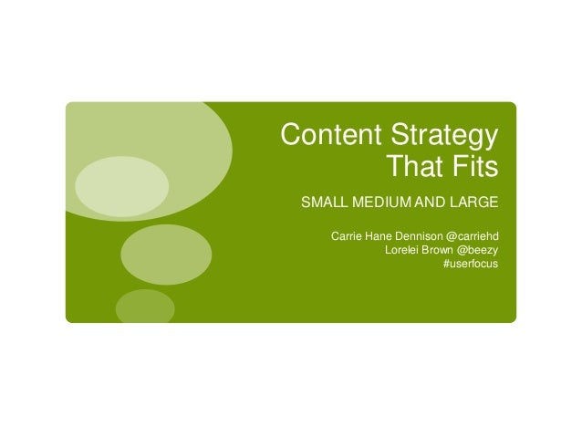 Content Strategy       That Fits SMALL MEDIUM AND LARGE    Carrie Hane Dennison @carriehd              Lorelei Brown @beez...