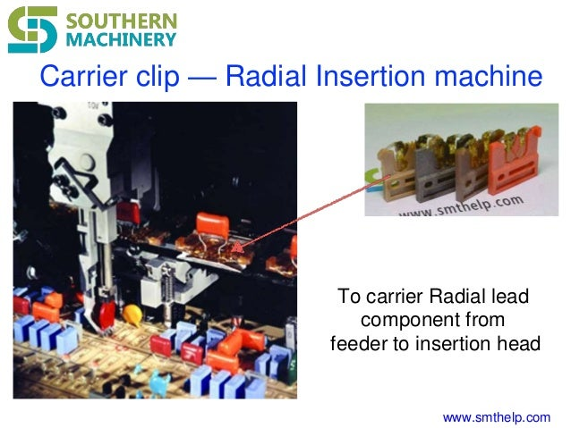 www.smthelp.com Carrier clip — Radial Insertion machine To carrier Radial lead component from feeder to insertion head