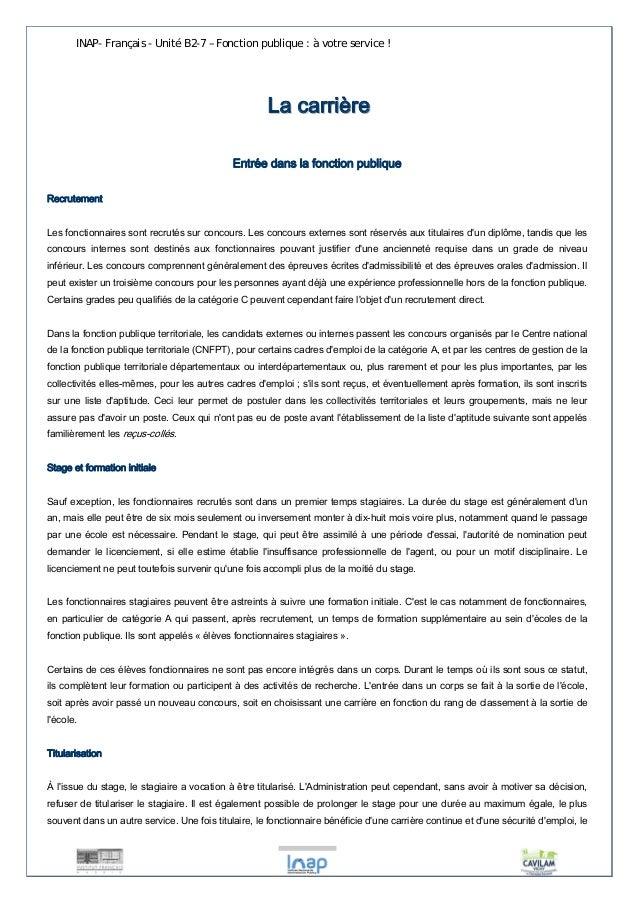INAP- Français - Unité B2-7 – Fonction publique : à votre service !  LLaa ccaarrrriièèrree  Entrée dans la fonction publiq...