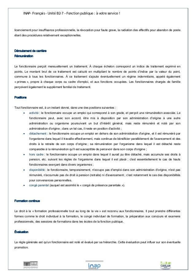 INAP- Français - Unité B2-7 – Fonction publique : à votre service !  licenciement pour insuffisance professionnelle, la ré...