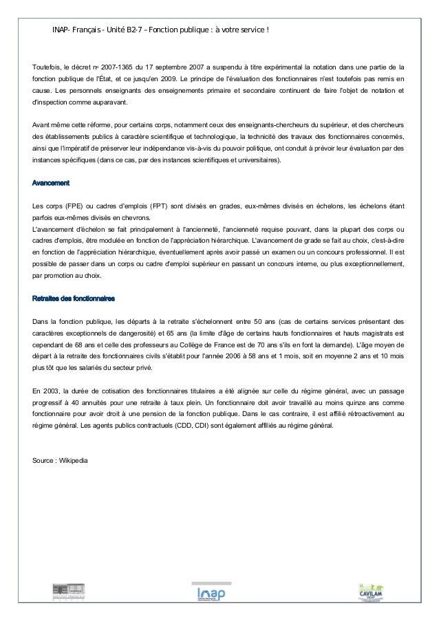 INAP- Français - Unité B2-7 – Fonction publique : à votre service !  Toutefois, le décret no 2007-1365 du 17 septembre 200...