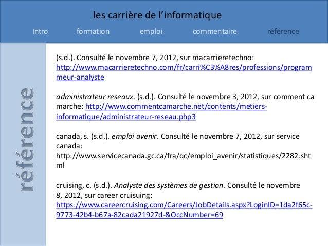 les carrière de l'informatiqueIntro        formation          emploi          commentaire           référence        (s.d....