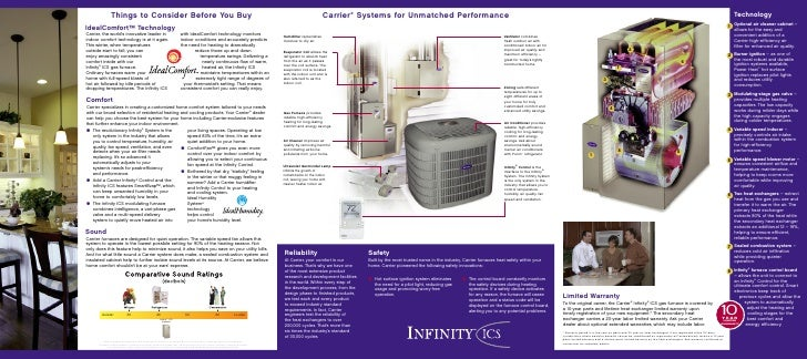 carrier infinity furnace. technology 1 optional air cleaner cabinet \u2013 allows for the easy and convenient addition of a carrier high-efficiency filter enhanced quality. infinity furnace m