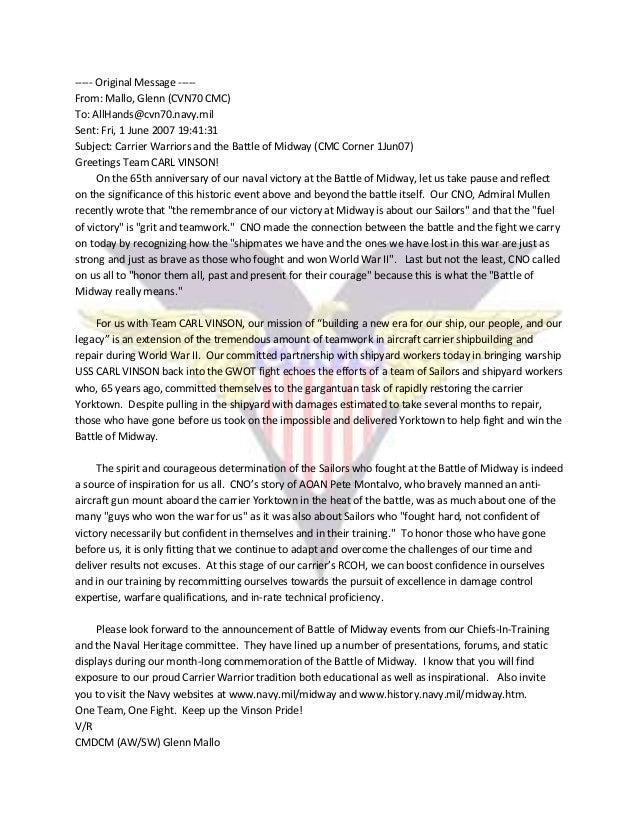 ----- Original Message ----- From: Mallo, Glenn (CVN70 CMC) To: AllHands@cvn70.navy.mil Sent: Fri, 1 June 2007 19:41:31 Su...