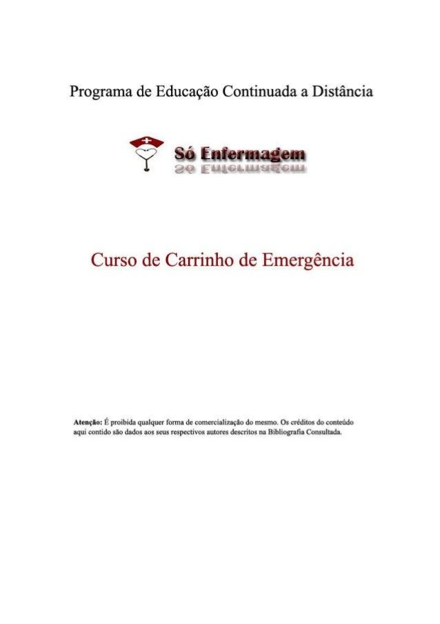 2 Sumário Introdução 3 Objetivos 4 Cuidados com o carrinho de emergência 5 Rotinas para Controle do Carrinho de Emergência...